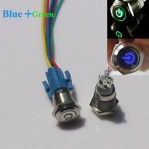 Blue Green Led 16mm 12v Car Metal Push Button Toggle Switch With Socket