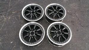 Jdm Black Racing 15 X6 50 Offset Wheels 4x100 Pcd 3pc Watanabe Civic Miata Crx