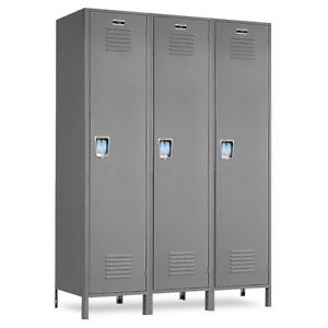Metal School Gray Lockers 36 w X 12 d X 72 h 78 h W legs 3 Openings