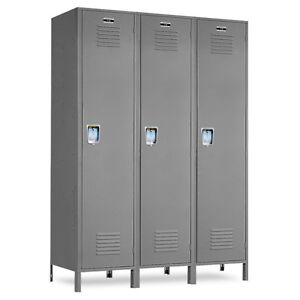 Metal School Gray Lockers 36 w X 18 d X 72 h 78 h W legs 3 Openings