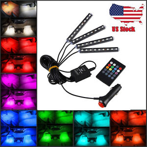 Wireless Decorat Music Control For Car Interior 7 Color Rgb Led Neon Strip Light