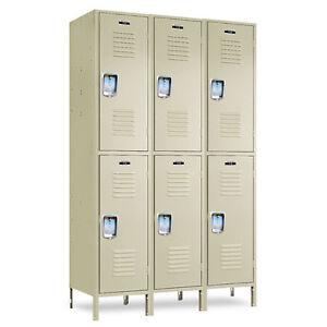 2 tier School Metal Lockers 36 w X 12 d X 36 72 h 6 Openings A Set Beige