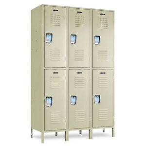 2 tier School Metal Lockers 36 w X 18 d X 36 72 h 6 Openings A Set Beige