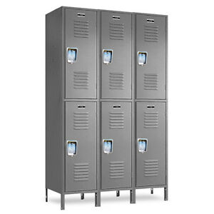 Double tier Metal Employee Lockers 36 w X 15 d X 36 72 h 6 Openings A Set