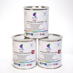 Red Epoxy Resin 100 Solids For Garage Floor plywood concrete 3 Gallon Kit