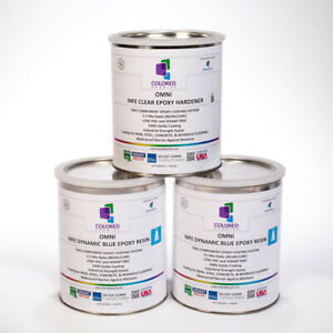 Light Blue Epoxy Resin 100 Solids For Garage Floor Concrete plywood 3 Gal Kit