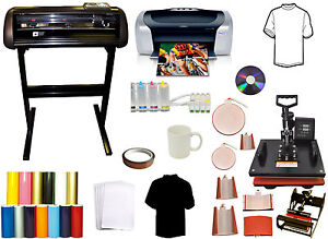 8in1 Combo Heat Press 24 Metal Vinyl Cutter Plotter printer ciss pu Vinyl tshirt