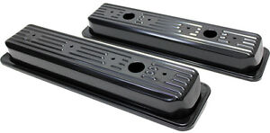 Chevy Sb Sbc V8 Short Black Valve Covers Centerbolt 5 0l 5 7l 1987 1999