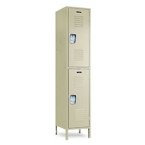 Beige Metal School Lockers 12 w X 18 d X 36 72 h 78 h W legs