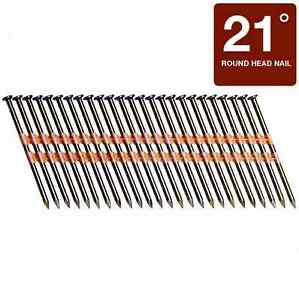 Framing Collated Nails Pneumatic Nailer Round Head 21 Degree 3 25 Inch 4000 Pack