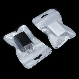 White Clear Resealable Ziplock Plastic Retail Packaging Bag Pouch With Hang Hole