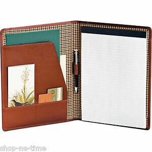 Cutter Buck Genuine Chestnut Leather Portfolio Writing Pad New
