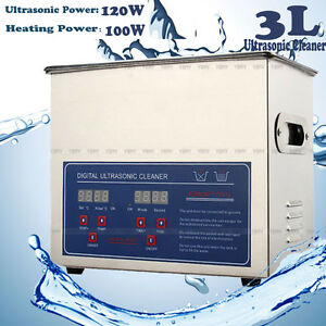 New 3l Stainless Steel Industry Heated Ultrasonic Cleaner Heater Timer Us