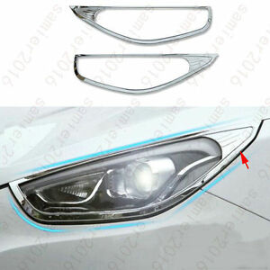2x Chrome Abs Front Headlight Frame Cover Trim For Hyundai Tucson Ix35 2011 2012