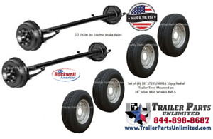 14k Dexter Tandem Trailer Axles All Hardware 4 16 14 ply Tires Wheels 93 78