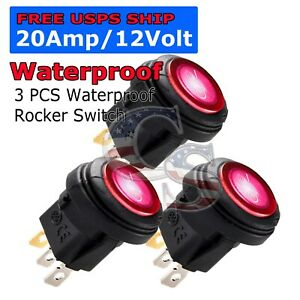 2x M1 Red Led Light 12v 20a Car Auto Boat Round Rocker Waterproof Toggle Switch