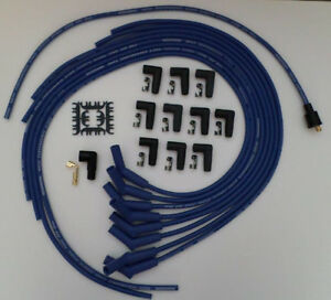 8 5mm Blue Sprial Core Universal Spark Plug Wires 135 Degree Boot Points Femal