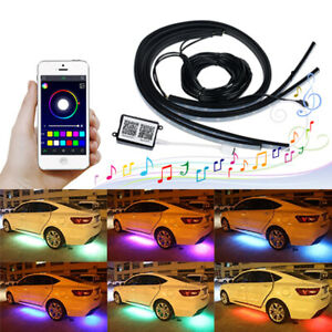 4x Rgb Led Under Car Tube Strip Underglow Body Neon Light Kit App Control Decor