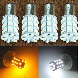 4pcs 1157 Dual Color Switchback White Amber Led Brake Stop Tail Light Bulbs Sale
