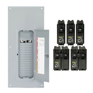 Square d Homeline 225 amp 30 space 60 circuit Indoor Main breaker Panel Box Load