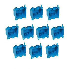 10x Dual 2 gang Wall Outlet Switch Old work Home Plastic Electrical box Remodel