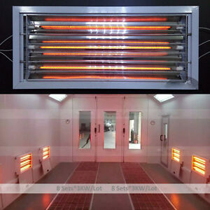 Spray Baking Paint Booth Oven Infrared Curing Lamps Heating Lights Heater 8x3kw