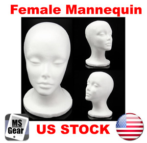 Female White Styrofoam Mannequin Manikin Head Stand Hat Glasses Headphone Wig Us
