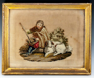 Antique Victorian Georgian Era Needlepoint Tapestry Gold Frame Dog Or Shepherd
