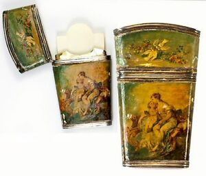 Antique French Sterling Silver Vernis Martin Painting Necessaire Note Card