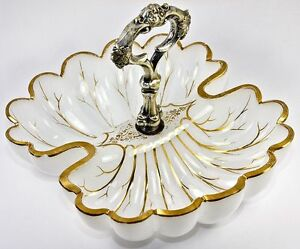 Fine Antique Moser Opaline Service Dish Double Scallop Shell With Silver Handle