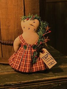 New Primitive Country Folk Art Tea Stained Faith Snowman Girl Dress Doll 9