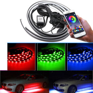 4x Rgb Led Under Car Strip Underbody Glow Light Kit Phone App Control 48 36