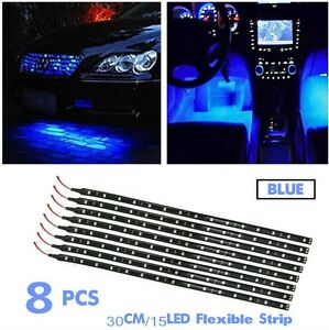 Lot Of 8 Blue Lamp 15 Led 30cm Auto Cycle Flexible Waterproof Light Strip 12v