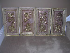 Vtg Set Of 4 Gold Greek Relief Greek Men Women With Flowers Free Shipping