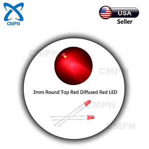 100pcs 3mm Led Red Diffused Round Top Bright Bulbs Lamp Light Emitting Diodes