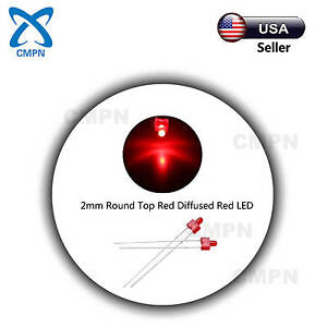 100pcs 2mm Red Led Diodes Dip Diffused Round Top Bright Bulb Light Lamp Beads