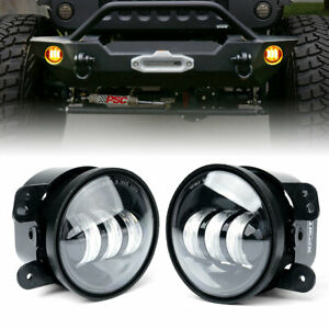 Amber 4 Inch 60w Cree Led Projector Fog Lights Lamps For Jeep Wrangler Jk