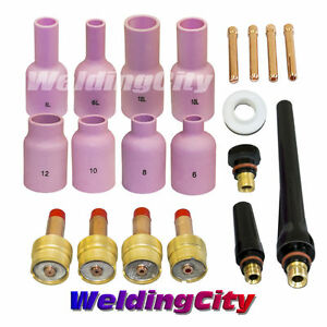 Tig Welding Large Gas Lens Accessory Kit 020 1 8 Torch 17 18 26 T7b Us Seller