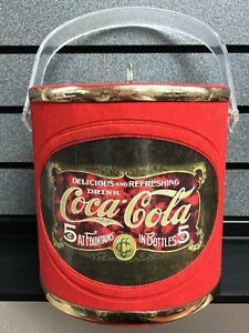 Coca-Cola Ice Bucket w/ Lid | Red w/ Gold Bands | SHIPS Fast