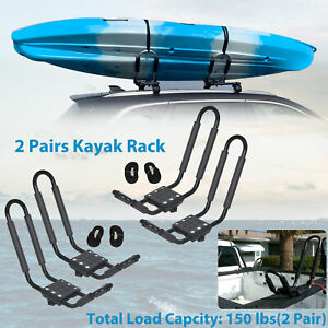 2 Pair Canoe Boat Kayak Roof Rack Car Suv Truck Top Mount Carrier J Cross Bar