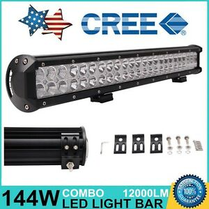 23in 144w Cree Led Work Light Bar Combo 12v 24v Offroad Fog 4x4 Lamp Driving Suv