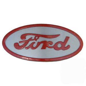 8n16600a Chrome Hood Emblem With Red Background For Ford Tractor 8n