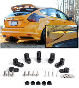 For 13 18 Ford Focus St Anodized Black Jdm Rear Wing Spoiler Riser Extender Kit