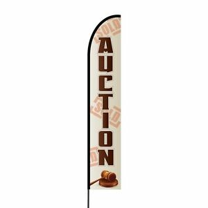 Auction Feather Flag Kit Outdoor Advertising Display Banner Sign 15 Feet