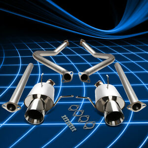 4 Rolled Muffler Tip Stainless Catback Exhaust For 2011 2014 Ford Mustang 3 7 V6