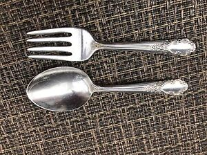 Vintage Rogers Sterling Silver Bridal Veil Baby Fork Spoon Child Set L 4 1 8
