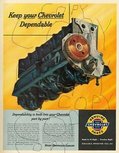 Dealer Poster Advertising The Chevy Stovebolt Six Cylinder Engine