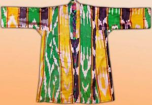 Vintage Uzbek Beautiful Hand Loomed Silk Ikat Caftan Robe Chapan S74