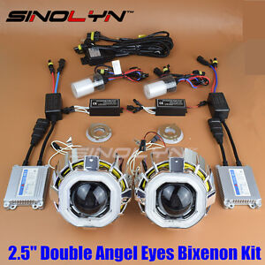 Square Double Ccfl Angel Eyes Halo Hid Bi Xenon Headlight Projector Lens Kit