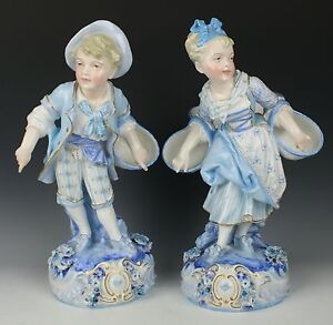 Antique 19c French Levy Cie Pair Of Figurines Boy And Girl With Baskets